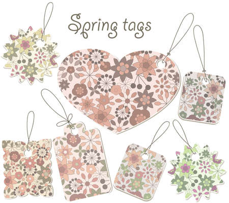 vector spring tags with floral pattern, can be used separately, no gradients, no transparency, no mesh Vector