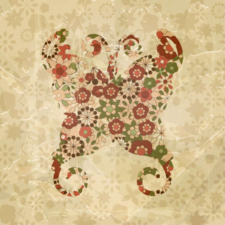 vector spring floral butterfly, vintage style,  old paper texture Vector