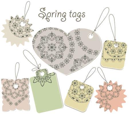 etiquetas de ropa: etiquetas de vectores de primavera con estampado de flores, se puede utilizar por separado Vectores