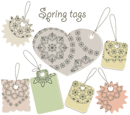 vector spring tags with floral pattern, can be used separately Vector