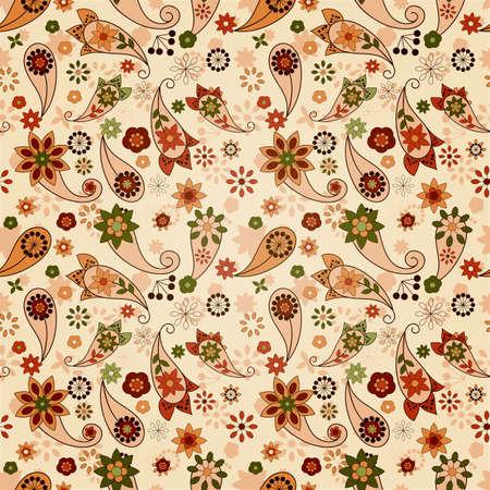 ペルシア: ペイズリー要素と花とシームレスな春パターン ベクトル