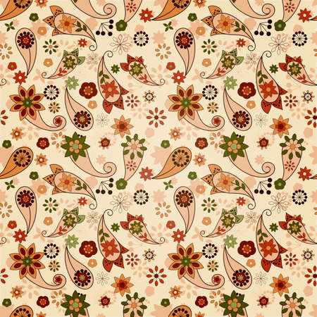 vector seamless spring  pattern with paisley elements and flowers Vector