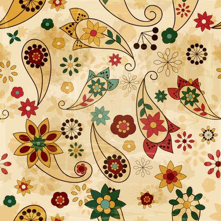 paisley pattern: motif de printemps vecteur homogène, les éléments de Paisley et de fleurs, de la texture du vieux papier