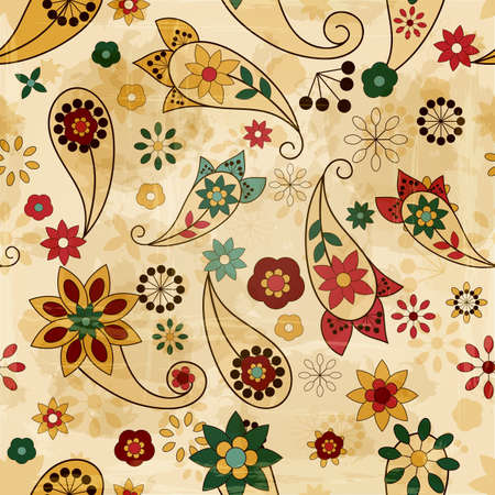 textile image: vector seamless spring  pattern, paisley elements and flowers, old paper texture Illustration