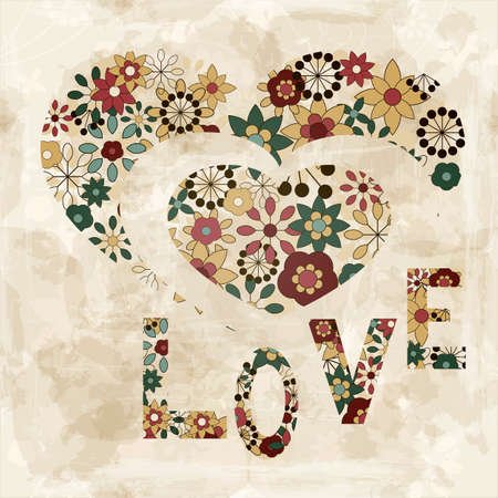 vector spring  flowers organized in heart shape and word love, old paper texture