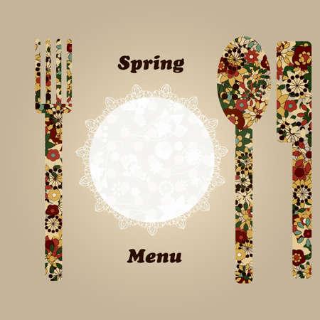 serviette: temlate vector de menú con cuchillo, tenedor, la servilleta, y una cuchara, los elementos pueden ser utilizados por separado Vectores