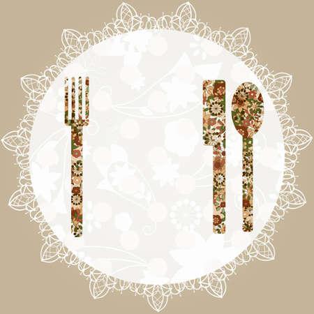 servilleta de papel: vector de la plantilla para el menú con un cuchillo, tenedor, servilleta, y una cuchara