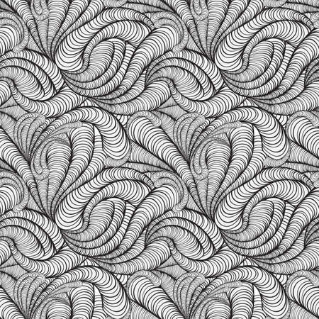 doodle art: vector seamless funky monochrome background with abstract figures