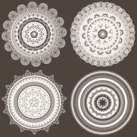 vector seamless pattern with lacy napkins, can be used separately Vector