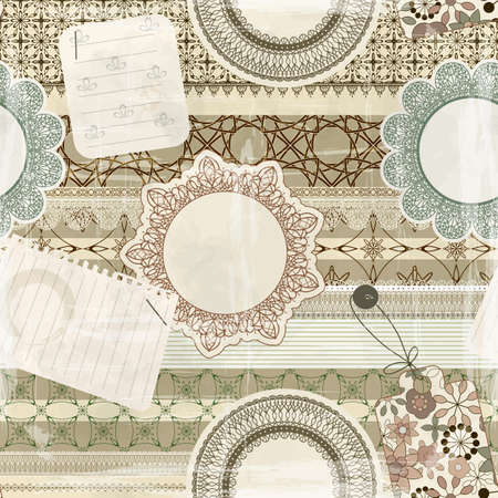 vector  seamless pattern with scrapbook elements: lacy napkins, sheets of paper, ribbons, tags, old paper texture