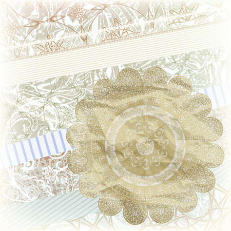 golden snowflake on scrapbook pattern with floral ornaments on ribbons, elements can be used separately, Vector