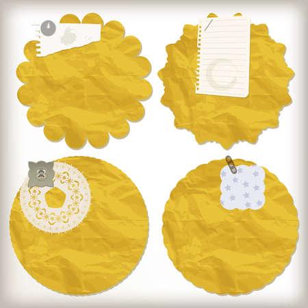 Vector elementos de diseño de bloc de notas, servilletas de papel arrugado, trozos de papel,