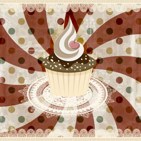 vector vintage pattern with cupcake and retro background Vector