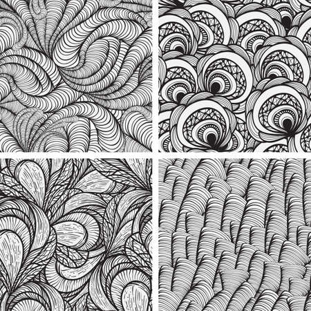 four vector seamless funky monochrome  patterns   Vector