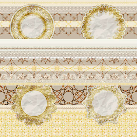 vector  seamless pattern with scrapbook elements  lacy napkins, sheets of paper, ribbons, tags, old paper texture Vector