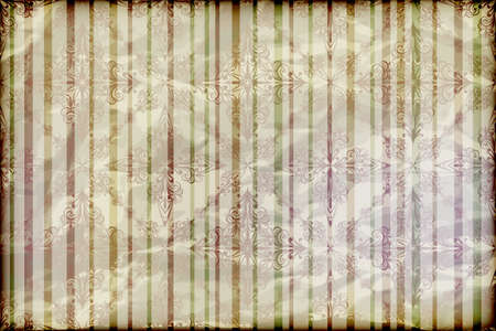 vector seamless floral wallpaper on striped background,  crumpled burning paper texture Vector