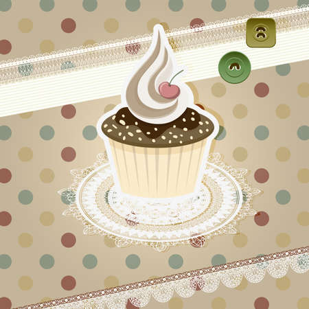 vintage pattern with cupcake and retro background Illustration