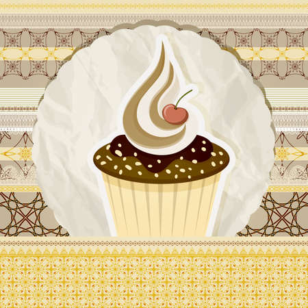 vector vintage pattern with cupcake and retro background, seamless borders can be used separately Vector