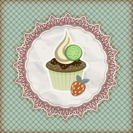 invitation template with cupcake Vector