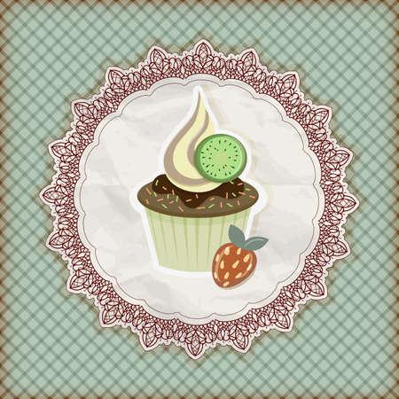 serviette: invitation template with cupcake
