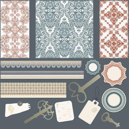 scrapbook design elements: three seamless patterns, ribbons, keys, sheets of paper, and napkins Çizim