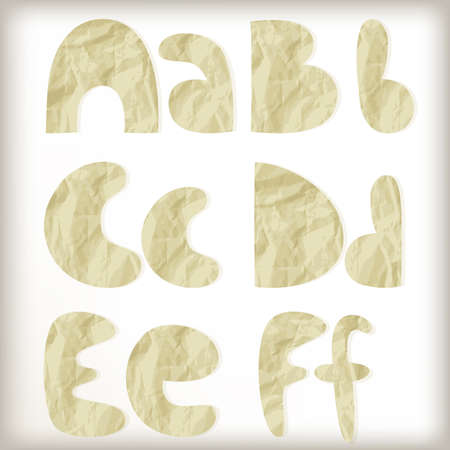 set letters cut of golden foil, crumpled paper texture,  Vector