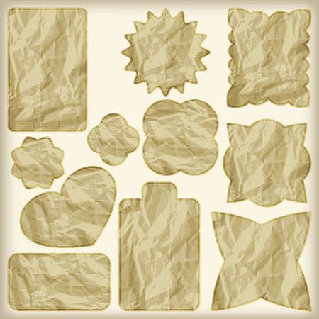 set of foil cut golden shiny vintage tags,  crumpled paper texture Vector