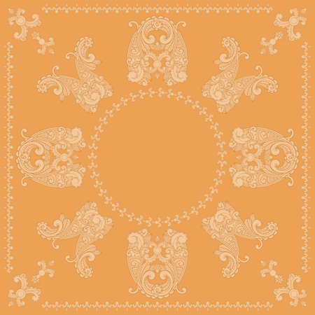 vector paisley square pattern in orange Vector