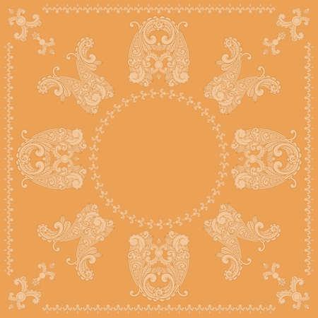 vector paisley square pattern in orange Stock Vector - 13166761