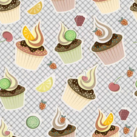 vector seamless pattern with cupcakes,  fruits and berries Vector