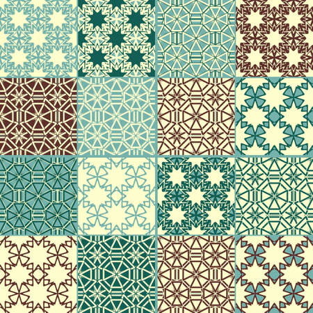 repeat square: set of four vector seamless patterns, can be used separately as textile, wrapping paper or any other decoration