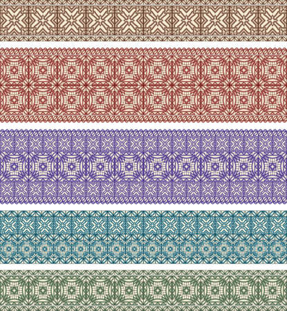 astern: set of five astern style seamless borders, eps version brushes included Illustration