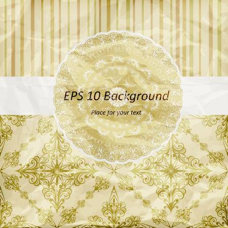 vector vintage pattern, golden napkin on floral and striped background,  crumpled paper texture Vector