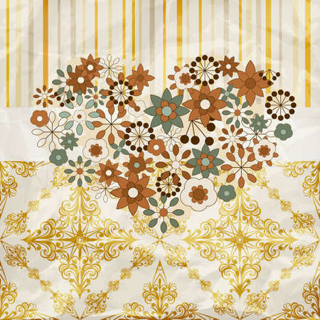 vector vintage pattern with floral heart,  crumpled paper texture, patterns can be used separately Vector