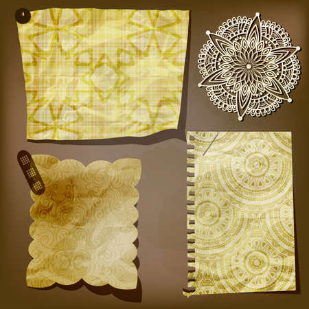 yellow thumbtacks: Scrap template of vintage paper pieces and lacy flower Illustration
