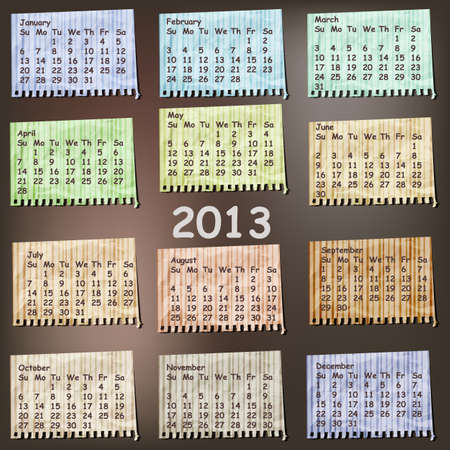 vector 2013 Calendar on vintage striped pieces of paper, months can be used separately as calendar or scrapbook design elements, gradient mesh, crumpled foil texture Vector
