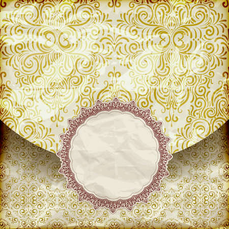 vector retro background with vintage frame for your text,  crumpled golden foil  paper texture, gradient mesh Vector