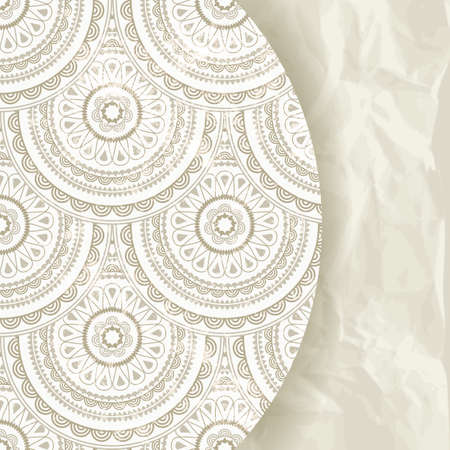 crumpled paper texture: vector retro background, eastern pattern and crumpled paper texture Illustration