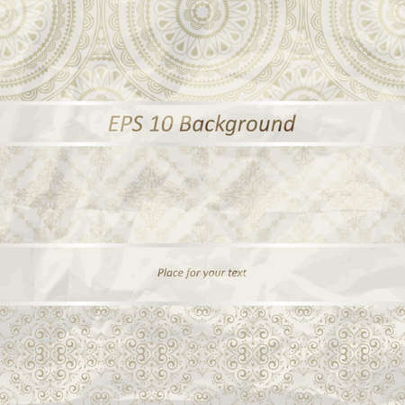 vector seamless floral borders on  crumpled golden foil  paper texture Vector