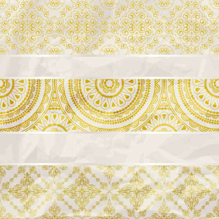 vector seamless floral borders on  crumpled golden foil  paper texture