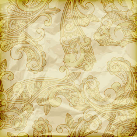 vector seamless paisley pattern  on crumpled golden foil texture Stock Vector - 13330106