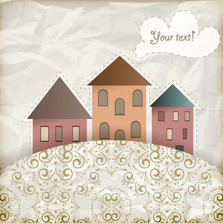 house clip art: retro background with vintage floral pattern and  old houses, place for your text,  crumpled paper texture, gradient mesh Illustration