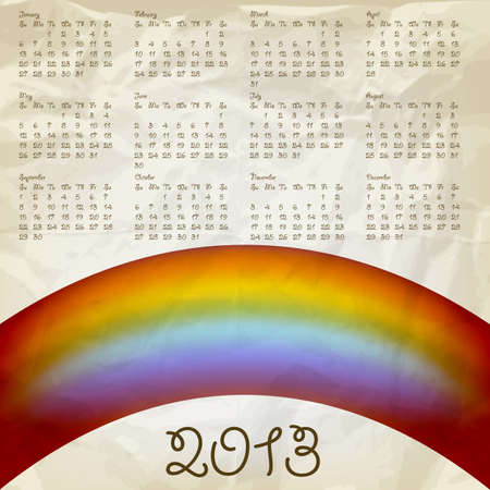 calendar on abstract background with rainbow, crumpled paper texture Stock Vector - 13447744