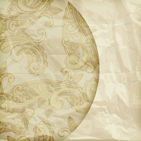 background with paisley pattern  on crumpled golden foil texture Vector