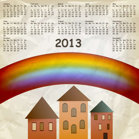 calendar on abstract background with rainbow and old houses, crumpled paper texture Vector