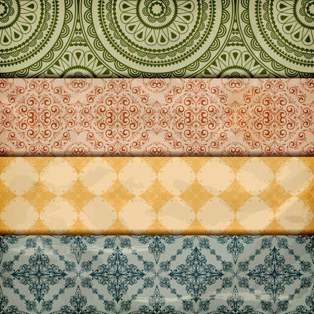 seamless floral borders on  crumpled   paper, grunge texture, eps 10, gradient mesh Vector