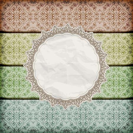 vecteur floral transparent frontières abd serviette avec de la dentelle et de la texture du papier froissé, eps 10, gradient de maille Vecteurs