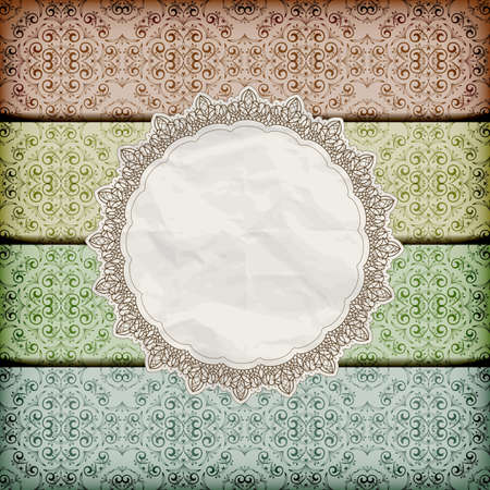 vector seamless floral borders abd napkin with lace and  crumpled   paper texture, eps 10, gradient mesh Illustration