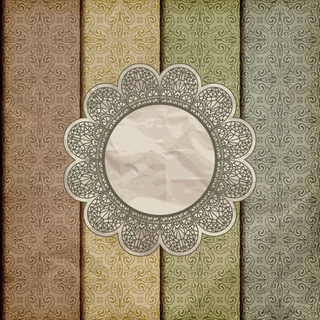 vector seamless floral borders on  crumpled golden foil  paper texture with lacy napkin, gradient mesh, eps 10 Vector
