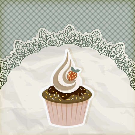 vector retro  invitation template with cupcake on lacy napkin Vector
